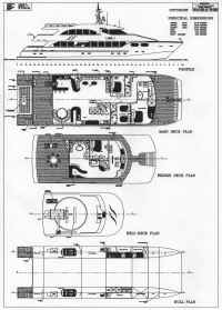GA study Plan Of The 32m Motor Yacht Catamaran