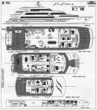GA plan of 50m motor yacht catamaran